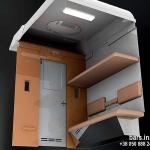 Interior elements of a fiberglass passenger car